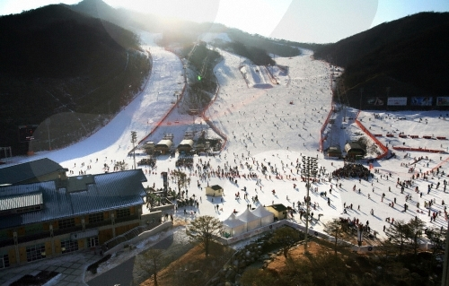 韩国的冬天,滑雪场风景(1)