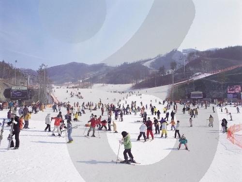 韩国的冬天,滑雪场风景(2)