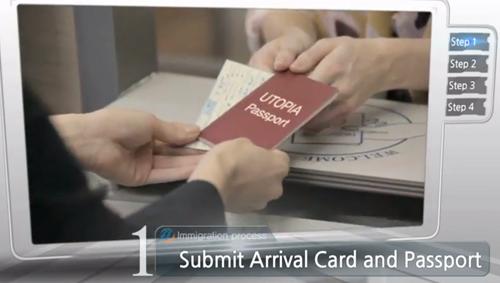 提交入国申告书和护照