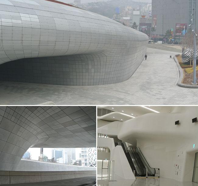 ddp建筑物的整体都由曲线构成,内部和外部没有任何直线构成的空间.
