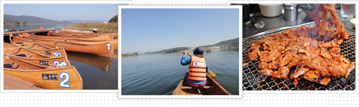 There are a total of 3 picture and one order from the left floating on the river for canoeing, canoes, grill the chicken or ribs ripe photo above