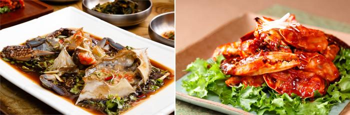照片)左起 酱花蟹/花蟹汤