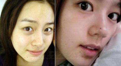韩国招牌美女演员金泰希和韩佳人的百分之百素颜对比