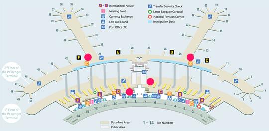 仁川国际机场转机旅游服务柜台地图