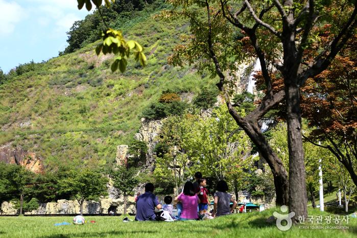잔디 광장에서 휴식을 즐기는 가족들