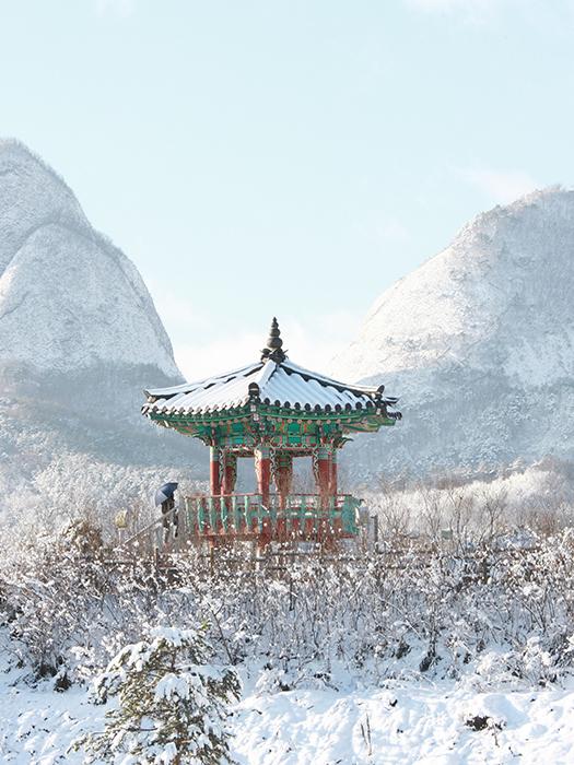 노천탕과 마이산 설경이 있는 뜨거운 겨울