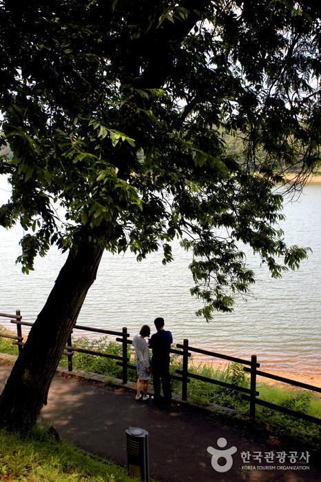 호수를 즐기는 연인