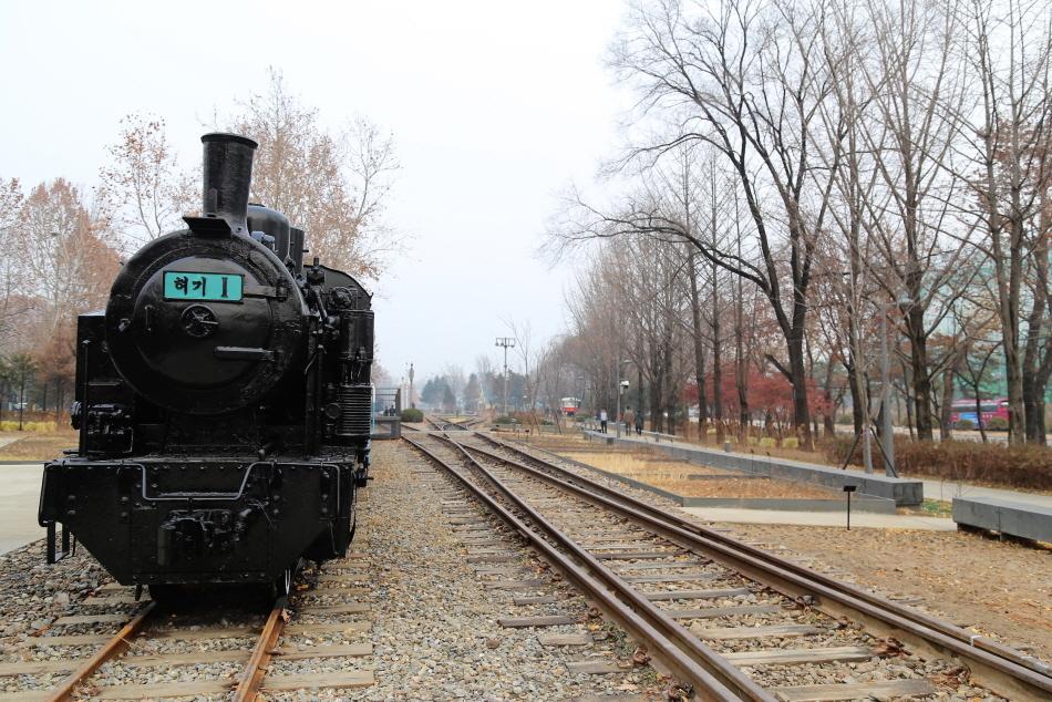 경춘선숲길에 전시된 협궤 열차