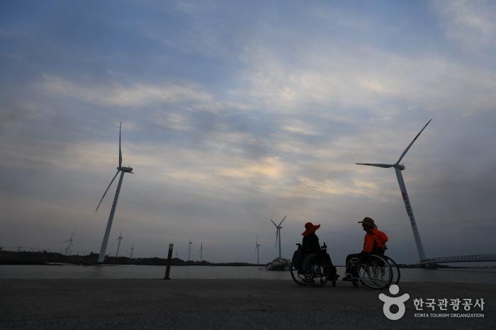 한국남부발전 국제풍력센터 쪽에서 본 신창풍차해안로의 풍력발전기
