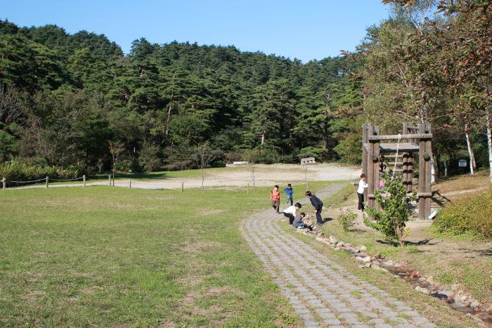탁 트인 제2야영장 잔디운동장. 아이들을 위한 놀이시설과 아이들이 마음껏 뛰놀 수 있는 잔디운동장이 있어 가족이 여행하기에 좋은 곳이다.