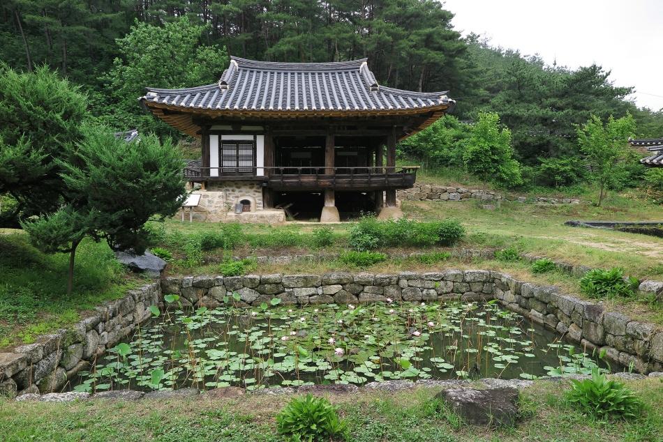 군자마을의 작은 연못과 탁청정