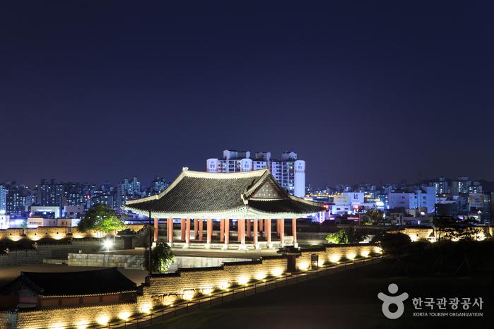 도시의 불빛과 어우러진 수원화성 야경