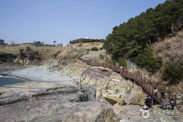 바위 단면이 일정하지 않아 신비롭다.