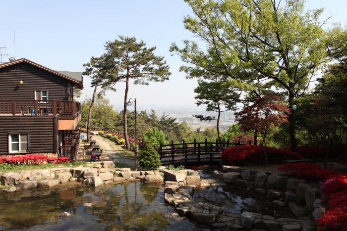 산림휴양관과 연못이 어우러진 용봉산자연휴양림 풍경