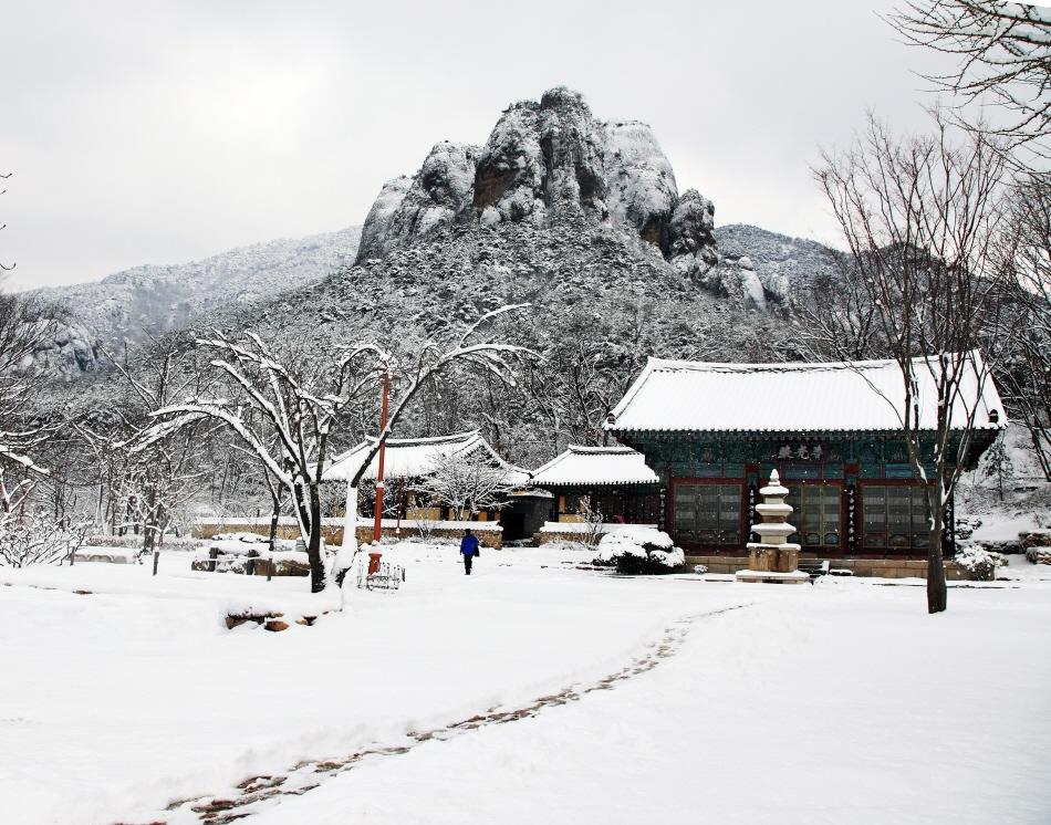 눈이 소복이 내린 대전사의 겨울 풍경