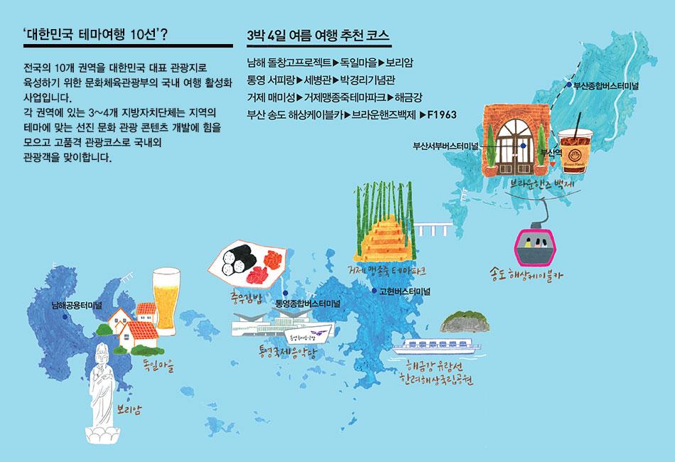 대한민국 테마여행 10선, 4권역 남쪽빛 감성여행 : 남해 / 통영 / 거제 / 부산