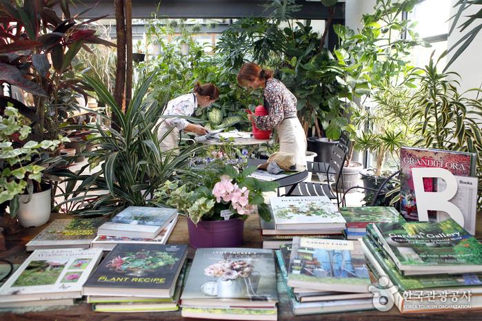 다양한 원예용품과 책과 꽃을 둘러볼 수 있다.