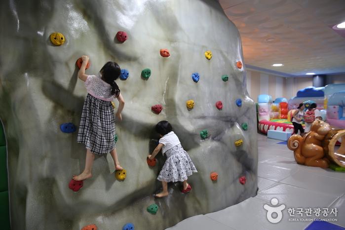 암벽타기를하는 어린이들