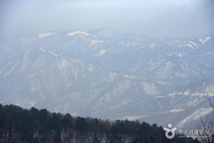 등산 중에 바라본 눈 쌓인 함백산의 모습