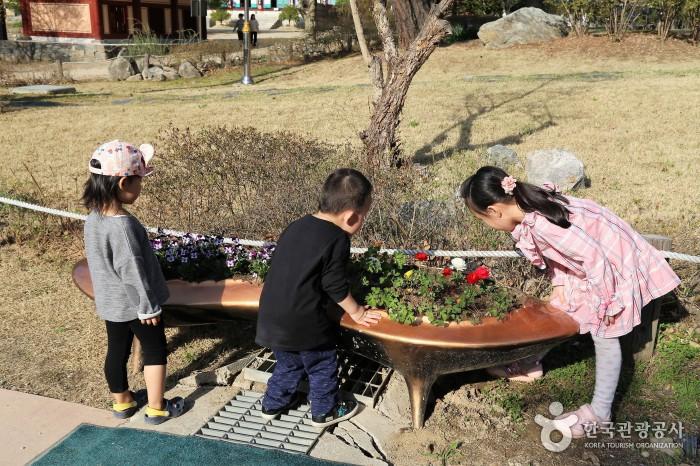 공원내 꽃을 구경하는 아이들