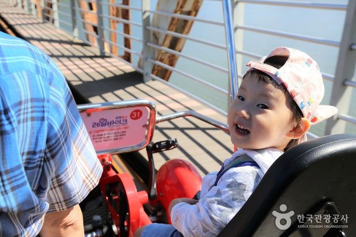 레일바이크를 타고 있는 아이