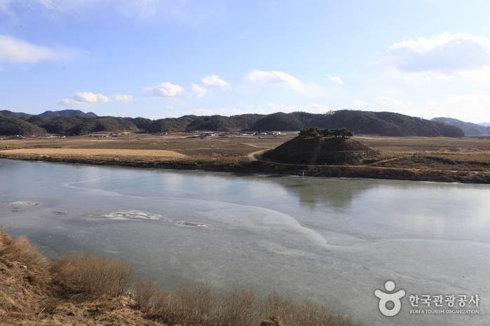 도산서원 맞은편 시사단(試士壇)의 겨울 강변 풍경