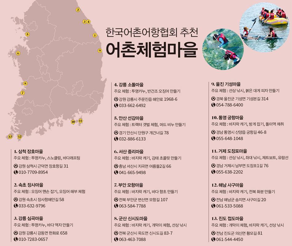 한국어촌어항협회 추천 어촌체험마을