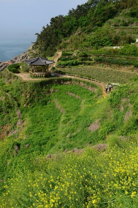 가천다랭이마을 아래 정자부터 남해바래길 2코스를 걸을 수 있다.