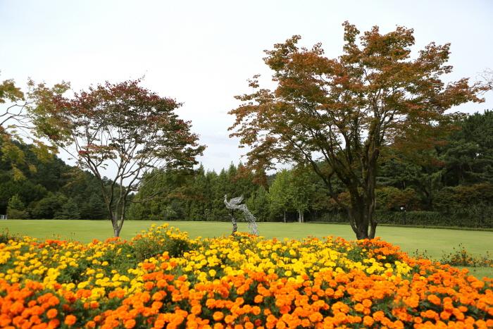 단풍나무와 메리골드의 호위를 받는 봉황조형물