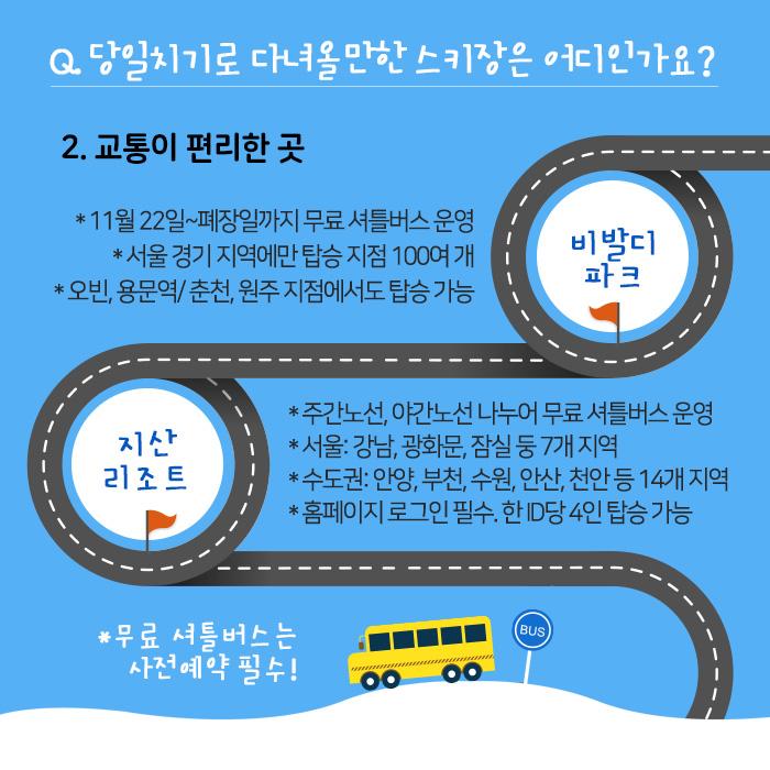 Q. 당일치기로 다녀올만한 스키장은 어디인가요? 2. 교통이 편리한 곳