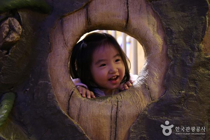 롯데월드. 환상의 숲에서 행복해하는 아이의 모습