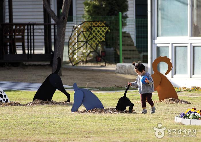 평강식물원에서 뛰노는 아이