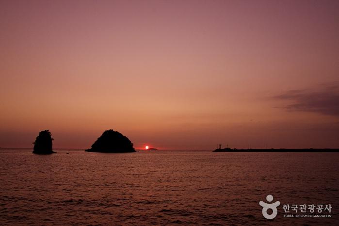 서해바다를 붉게 물들이는 아침 해를 품에 안다.