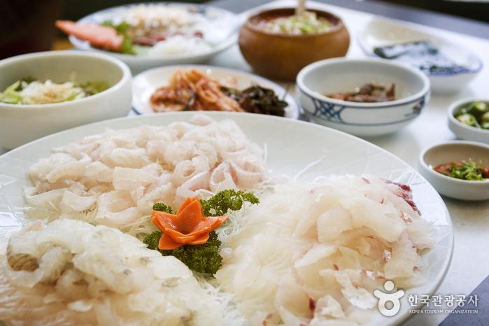 东柏岛生鱼片店<br>(동백섬횟집)