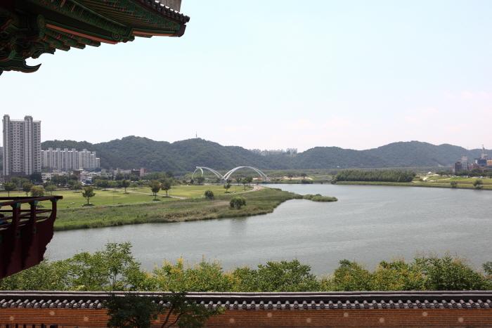 태화루에 올라 바라본 태화강과 십리대밭교
