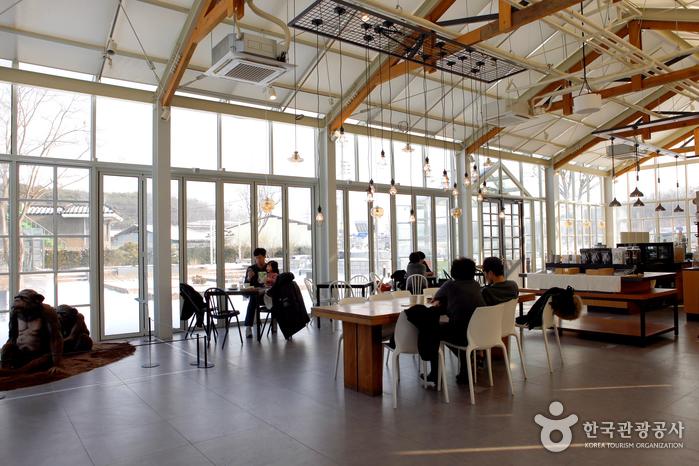 유리 건물 카페 알렉스더커피