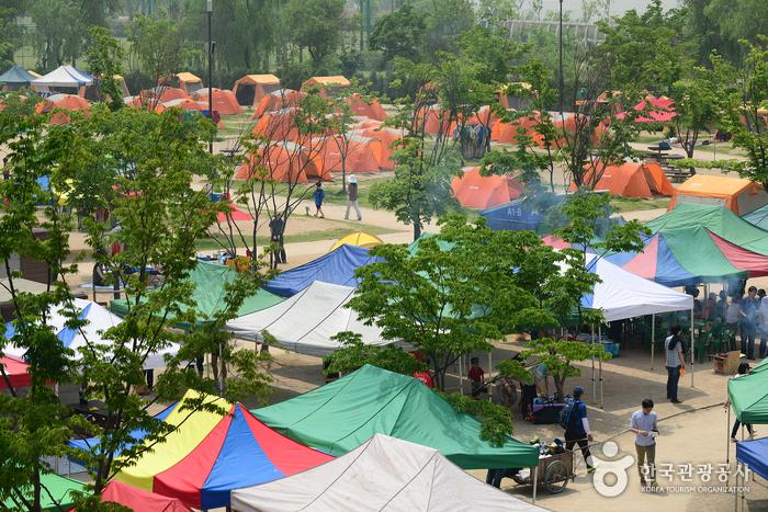 한강 그리고 여유… 도심에서 즐기는 캠핑, 마포 난지캠핑장 사진