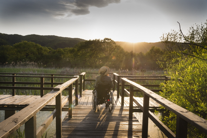 경안천습지생태공원의 해질녘 풍경