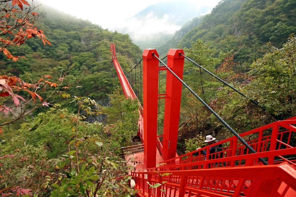 단풍처럼 붉은 강천산 현수교