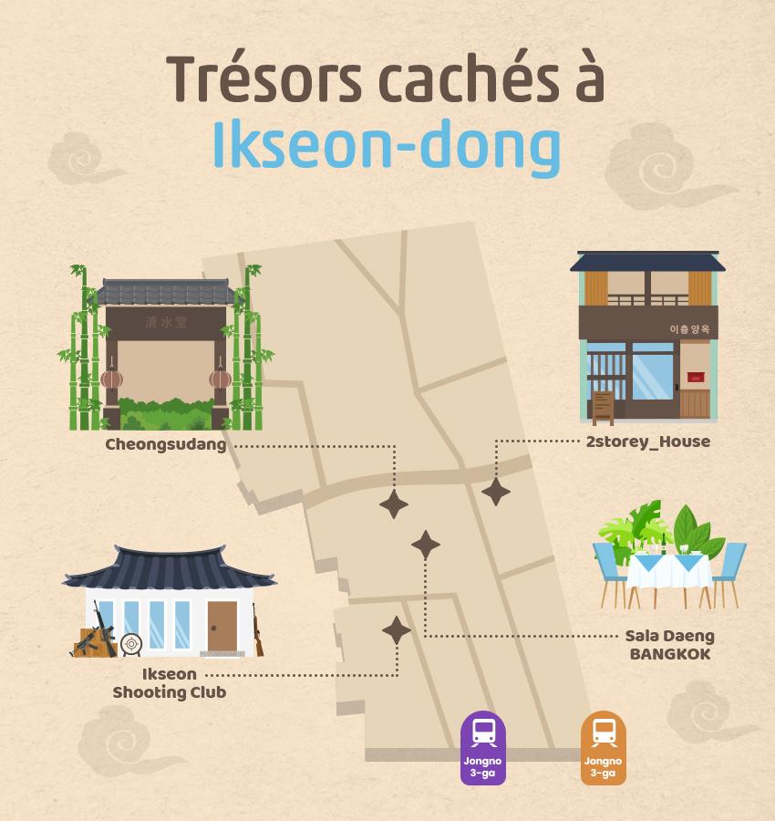 Plan illustré du quartier Ikseondong