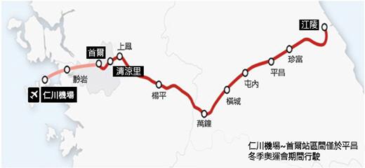 圖片) 京江線KTX行駛路線