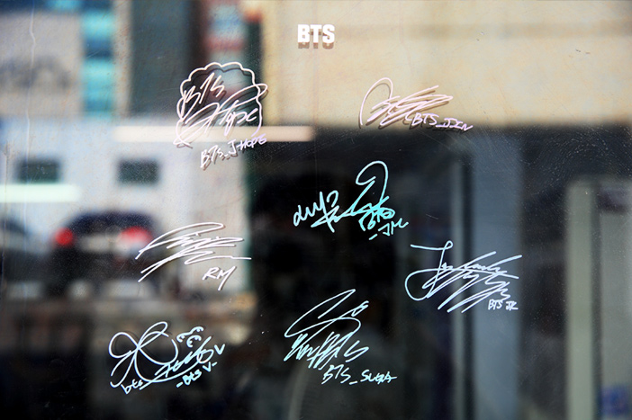 BTS' autographs on Yoojung Sikdang's entrance