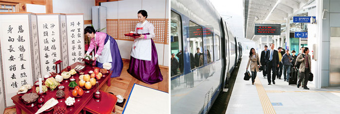 Charye preparation (left) / People traveling to their hometowns via train (right)