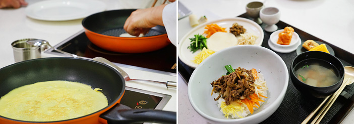 Pan-frying an egg (left) / Platter of seven delicacies and bibimbap (right)