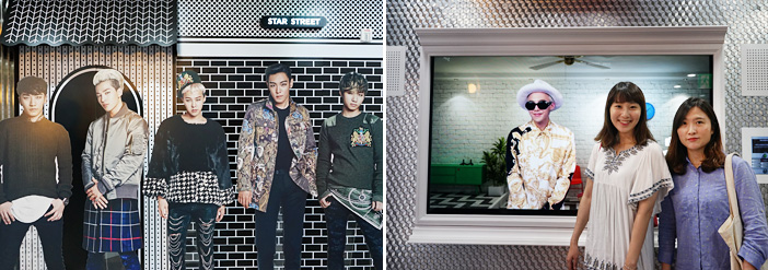 BIGBANG standing cutouts (left) / Souvenir photo with G-DRAGON (right)