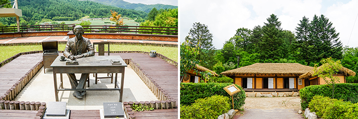 Statut de Lee Hyo Seok (à gauche) / Maison de naissance de Lee Hyo Seok (à droite)