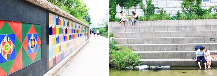 セクトン壁(写真左)、清渓川で憩う市民