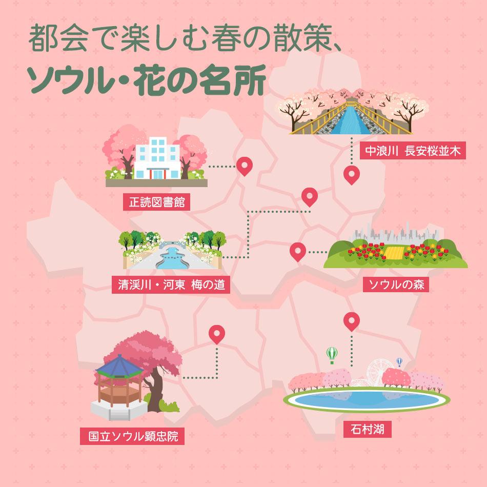 ソウルの春・花の名所マップ