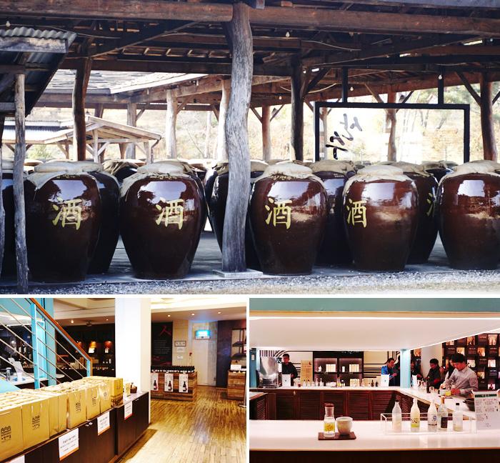 歲月廊大型酒罈裡正在釀製中的傳統酒(上圖)/ 傳統酒博物館內部(下圖)