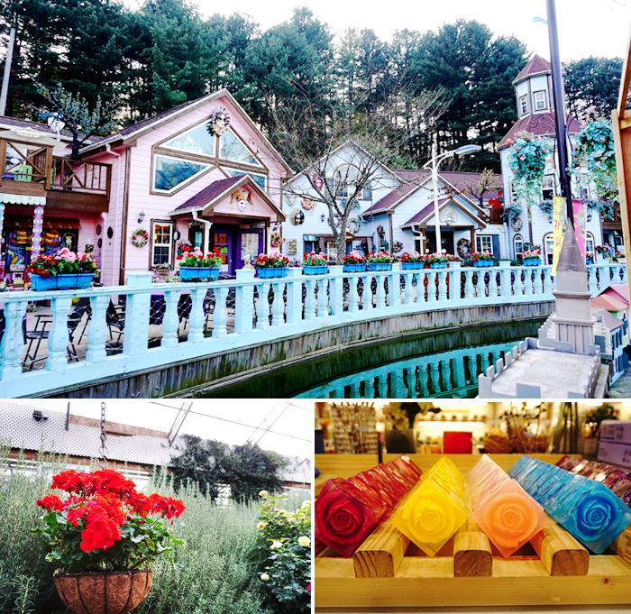 香草島樂園裡的「小威尼斯城」(上圖) / 香草島樂園博物館(左下) / 香草產品(右下)